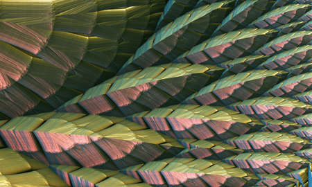 Abstract background 3D, fantastic feather like shapes, interesting render illustration.