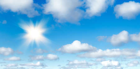 Natural summer background, sun over blue sky with white clouds.