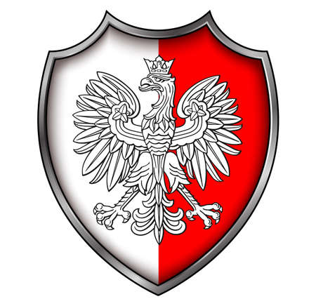 Coat of Arms of Poland, national symbol icon design - white eagle on shield, 3D vector illustration.