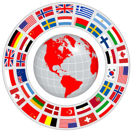 Logo earth globe 3D, blue planet and dynamic orbit with national flag around, vector international brand design.