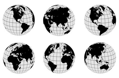 Earth globes set, different views with parallels and meridians, isolated vector world spheres design.