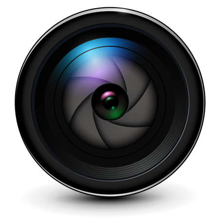 Camera photo lens 3D with shutter inside realistic icon, vector illustration.