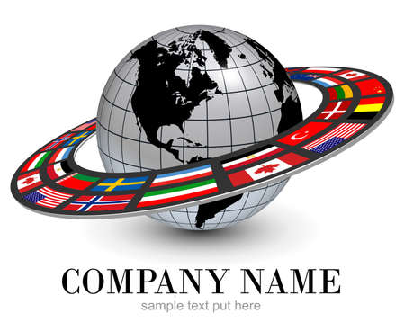 Logo earth globe 3D, silver planet and dynamic orbit with national flags around, vector international brand design.