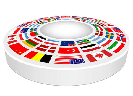 Empty 3D podium with national flags around for product presentation. vector design round pedestal for placement.