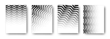 Backgrounds cover design, wavy black and white geometric patterns, interesting vector design. Vector Illustration