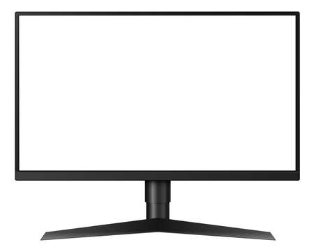 Monitor TV isolated, front view with empty screen, vector illustration. 向量圖像