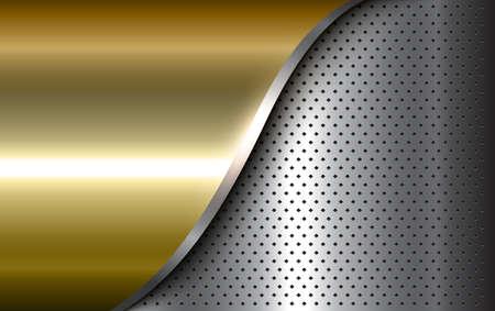 Metallic background silver gold polished steel texture, 3D vector design. Ilustração