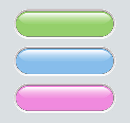 Buttons green blue and pink isolated, interesting navigation panel for website, editable vector illustration.