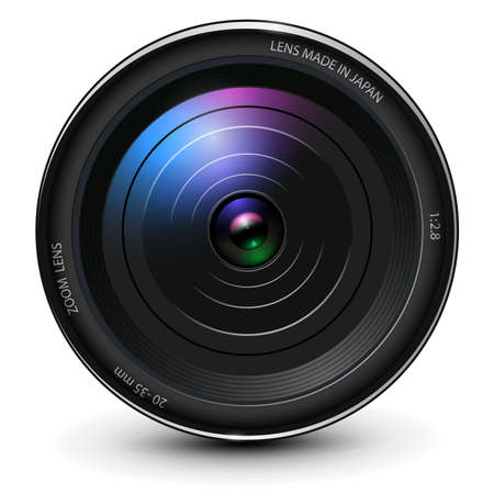 Camera photo lens 3D realistic icon, vector illustration.