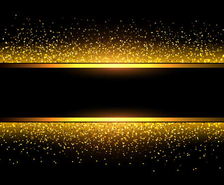 Golden background with sparkling glitter and banner with copy space, gold luxury vector design.