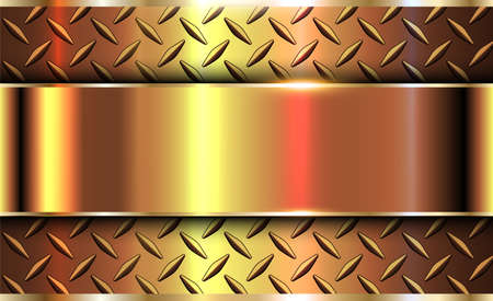 Background gold metallic, 3d golden vector design with diamond plate sheet metal texture.