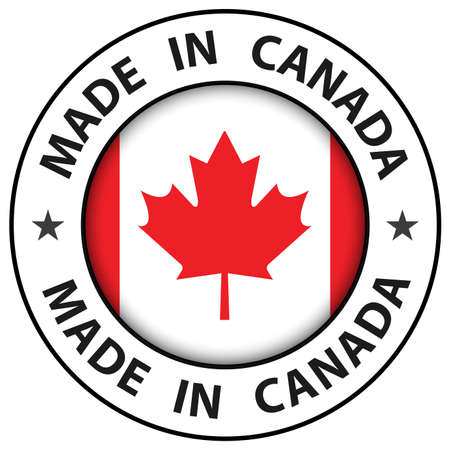 Made in Canada icon, circle button, vector illustration.
