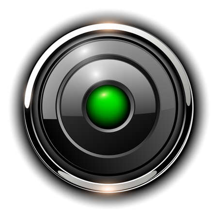 Glossy 3D button, silver chrome metallic with green inside, vector shiny icon.