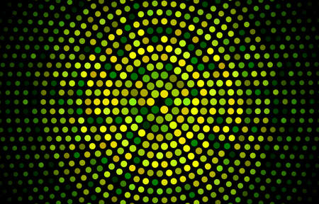 Green halftone geometric circles, shapes. Interesting mosaic banner. Geometric background with colored discs.