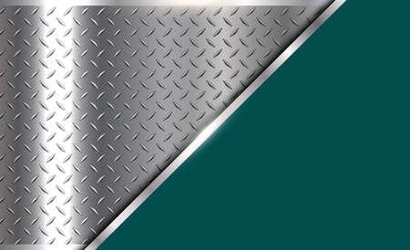 Background silver metallic, 3d chrome vector design with diamond plate sheet metal texture.