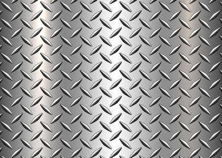 Diamond steel metal sheet texture background, shiny silver diamond plate pattern, vector illustration.