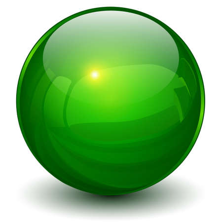 Glass sphere green, 3D ball icon shiny vector illustration.