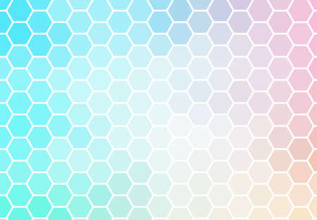 Hexagon mosaic background, abstract green and pink honeycomb icy vector design. Vettoriali