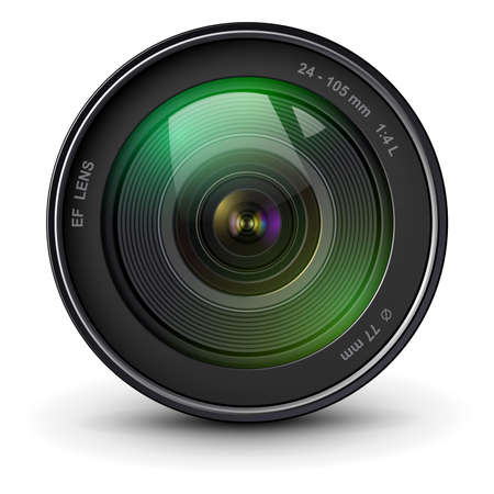 Camera photo lens, front view, realistic 3D vector icon.