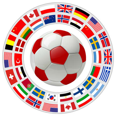 Soccer ball 3D icon with a ring of flags around as international sport vector symbol.