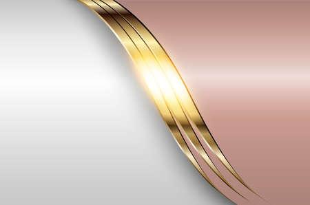 Business elegant background, silver gold metallic with light pink, 3D vector illustration.