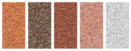 Brick wall texture pattern set, random natural bricks texture collection, editable vector illustration.