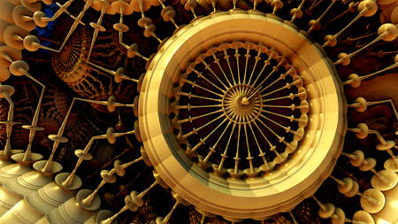 Abstract background, 3D metallic gold structures, abstract technology machinery render illustration.