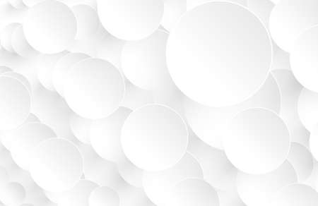 Abstract white background with 3D circles pattern, interesting white gray vector background illustration.