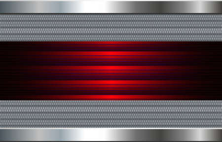 Metallic background silver, 3D polished steel texture with interesting red banner pattern, vector illustration. Vettoriali