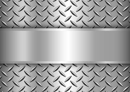 Background silver metallic, 3d chrome vector design with diamond plate sheet metal texture and copy space.