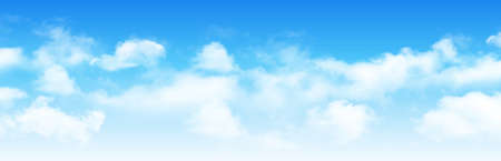Sunny day background, blue sky with white cumulus clouds, natural summer or spring background with perfect hot day weather, vector illustration. Vettoriali