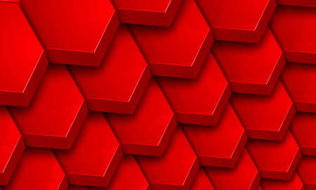 Abstract 3D geometric background, red hexagons shapes stacks, interesting pattern vector illustration.