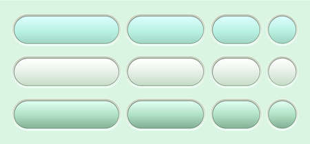 Buttons green isolated, interesting navigation panel for website with soft pastel colors, editable vector illustration.