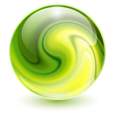 3D crystal, glass sphere green with abstract spiral shape inside, interesting marble ball. Vettoriali