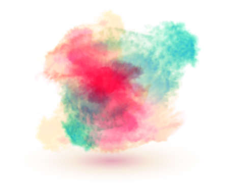 Abstract colorful 3D watercolor shape on white background. Hand drawn color splashing isolated on white paper, vector illustration.