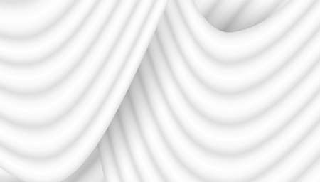 Abstract white background with 3D waves pattern, interesting white gray vector background illustration.