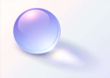 Background with shiny blue sphere, 3D glossy ball dynamic vector illustration.