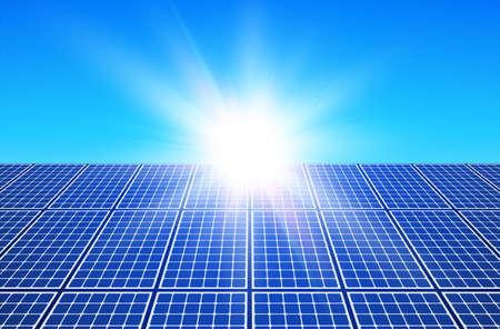 Solar panels and sun, solar energy produstion plant vector illustration. Vettoriali