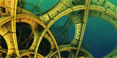 Abstract background, fantastic 3D gold structures, technology remains of an ancient civilization render illustration.