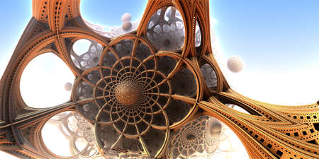 Abstract background, fantastic 3D gold structures on white render illustration.