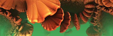 Abstract underwater background, fantastic orange shells and fictional shapes, 3D render illustration. Archivio Fotografico