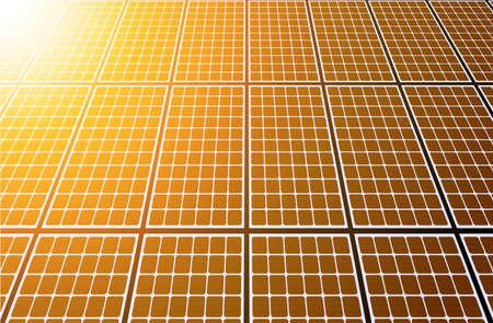 Solar panels 3D background, orange sun and solar energy produstion plant vector illustration.