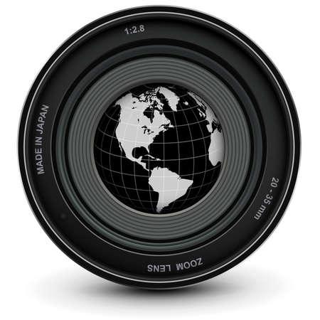 Camera photo lens and earth globe, The world inside the camera icon, vector illustration. Vettoriali