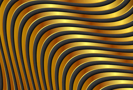 Gold striped background with interesting 3D golden stripes wavy pattern, vector illustration.