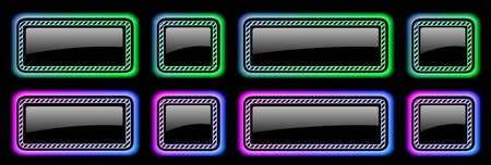 Set of buttons shiny colorful frames in neon colors with striped pattern, modern buttons collection oval rectangle shapes on black background, vector illustration.