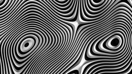 Abstract background black and white, fancy metallic lines, circular striped pattern, 3D render illustration.