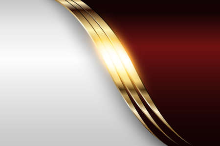 Business elegant background, silver gold metallic with dark red, 3D vector illustration.