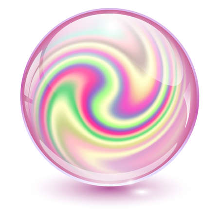 3D crystal, glass sphere pink with abstract spiral shape inside, interesting marble ball. Vettoriali