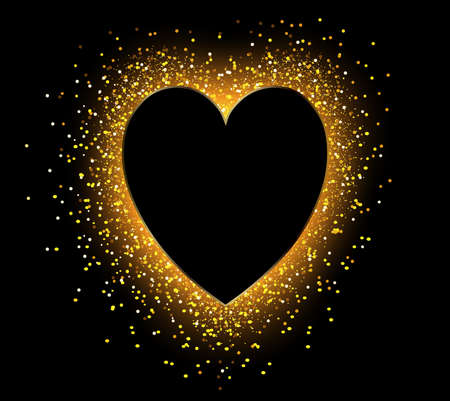 Golden sparkling heart shape with glitter isolated on black background. Vector romantic gold frame.