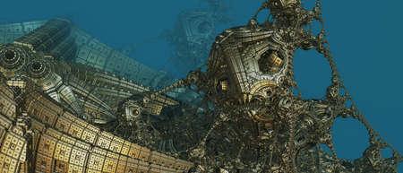 Abstract background 3D, fantastic ancient civilization architecture, gold blue render technology illustration.